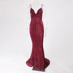 Sequins stretchy evening dress